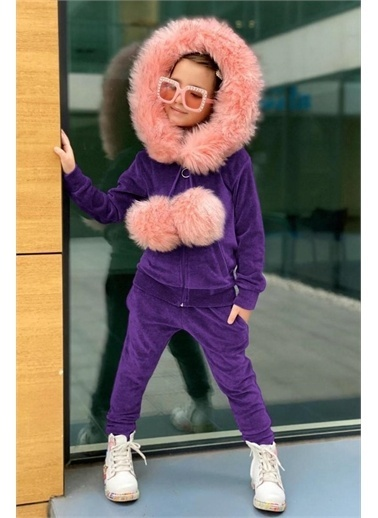 Riccotarz Kız Çocuk Pofidik Pon Kadife Mor Eşofman Takım Renkli